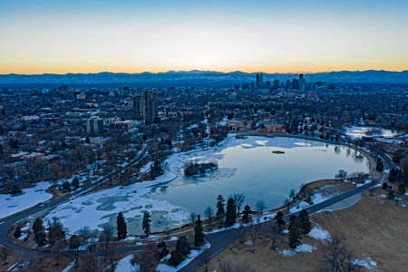 Denver Colorado USA Downtown Park Cityscape at Sunset Winter Frozen Lake Aerial View