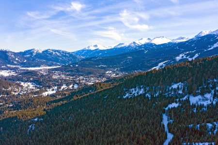 Whistler BC Canada Snowy Winter Panorama Landscape View From Forest Stock Photo