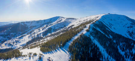 Schweitzer Idaho Ski Area Winter Snow Mountain Peaks Panoramic Aerial View