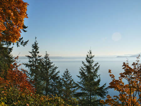 Samish Bay Fall Autumn View From Chuckanut Drive Bow Washington looking Towards Anacortes