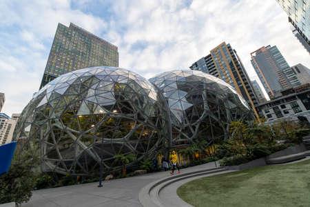 Seattle, Washington USA - Dec 2, 2019: Amazon Spheres Panorama View