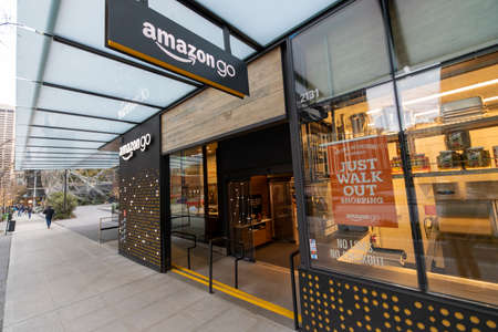 Seattle, Washington USA - Dec 2, 2019: Amazon Go Store Where Cashierless Technology Enables Customers to Just Walk Out With Their Goods With No Lines or Checkout