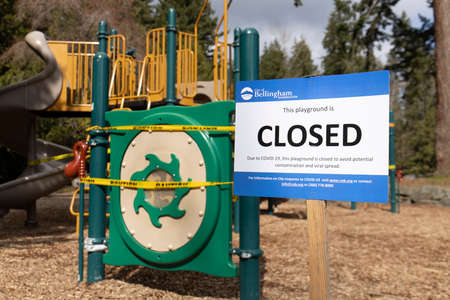 Bellingham, Washington USA - March 29, 2020: Kids Playground Closed Because of Coronavirus Covid-19 Pandemic Virus and Risk of Viral Transmission