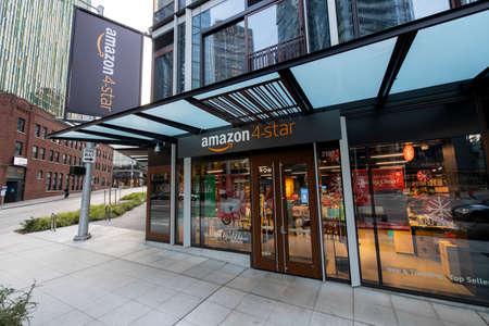 Seattle, Washington USA - Dec 2, 2019: Outside Amazon 4-Star Cashierless Store