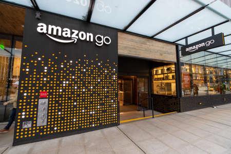 Seattle, Washington USA - Dec 2, 2019: Outside Amazon Go Cashierless Store