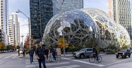 Seattle, Washington USA - Dec 2, 2019: Amazon Headquarters and Spheres Famous Landmark Buildings Panoramic Cityscape