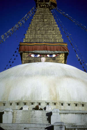 Eyes of Stupa at Bodnath,  Kathmandu Nepal