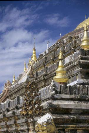 Gold details of temple platform,  Pagan, Burma