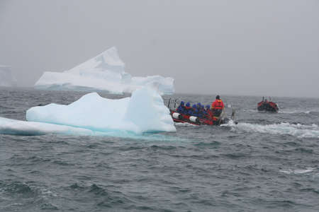 Polar landing boat taking tourists among the icebergs,  Cuverville Island, Antarctica