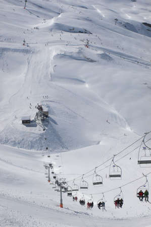 Chairlifts & skiers, Mosettes - Cubere area, Chatel,French Alps, France