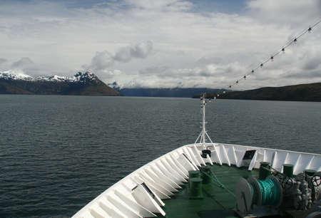strait of magellan: Bow of cruise ship in Strait of Magellan,  Martinez Fjord,  Patagonia,