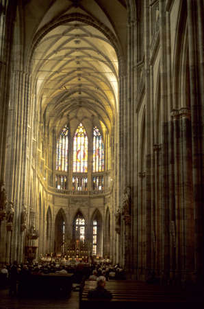 St. Vitus Cathedral, main aisle, gothic arches.  Prague, Czechoslovakia [Czech Republic]