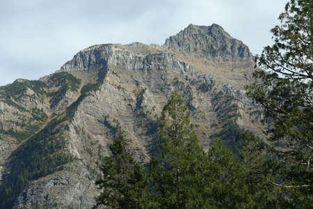 ギザギザのゴツゴツした峰嶺、トウヒ、曇り空、グレイシャー国立公園は、ロッキー山脈のモンタナ 写真素材