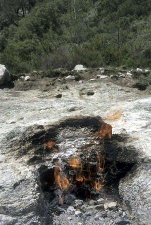 Natural fires, said to be from mythical monster Chimaera who was buried under the mountain by Bellerophon, mounted on the flying horse Pegasus.  Olympos, Turkey