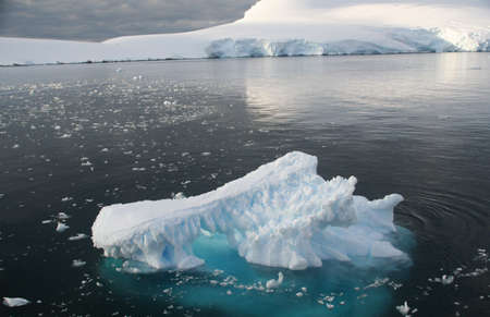 brash: Icebergs and brash ice in calm seas,   Lemaire Channel, Antarctica