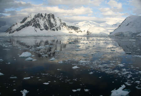 brash: Twilight: Icy mountains reflected on calm seas with brash ice forming  Lemaire Channel, Antarctica