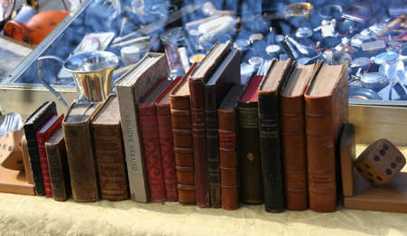 Piles of old books for sale, Planpalais flea market, Geneva, Switzerland