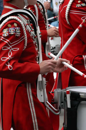 marchers: Drummers in marching band Calgary Stampede Parade Calgary CA-AB