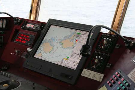 sonar: D�tail, l'�quipement de pont, navire de croisi�re, l'Antarctique  Banque d'images