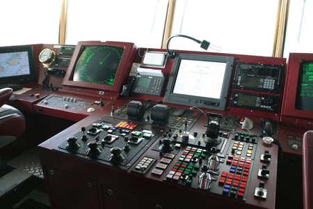 南極クルーズ船の橋の上のナビゲーション機器 写真素材
