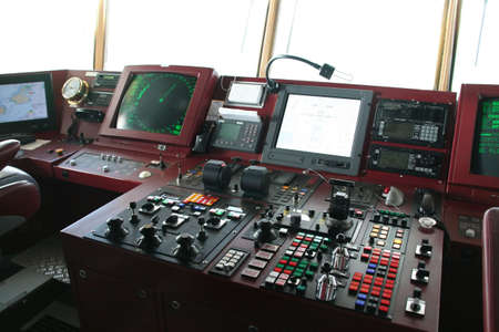 Navigation equipment on bridge of cruise ship,  Antarctica Banco de Imagens