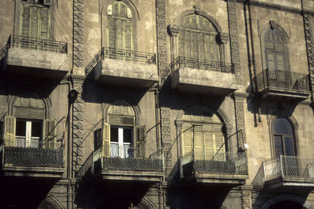 pilasters: Facade, windows and shutters in  Aleppo Syria