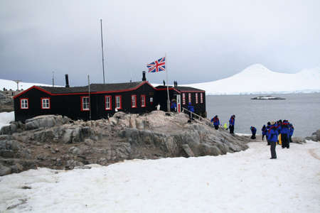 polar station: Polar research station - with penguins and cruise ship tourists  Port Lockerby, Antarctica