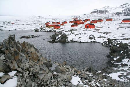 極地研究駅と植民地アルゼンチン ベース エスペランサ南極 写真素材