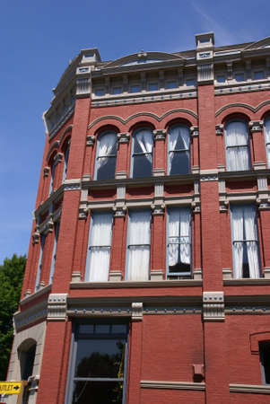 pilasters: Victorian style old building, 19th century fa�ade,  Port Townsend, Pacific Northwest, Washington
