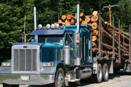 logging: Logging truck on highway near  Skohegan Maine