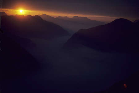 alpenglow: Sunset, Middle Fork Cascade River  North Cascades National Park, Washington   Stock Photo