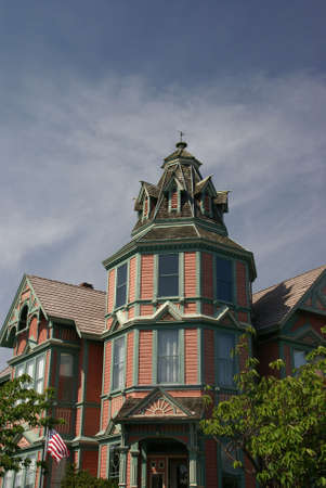 Detail, tower of Old Victorian house, now a bed & Breakfast, 19th century home,Port Townsend,Pacific Northwest, Washington  Stock Photo