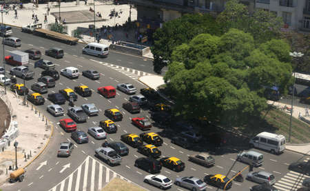 gridlock: Rush hour traffic, taxis, aerial view, Avenue of 9th July, Buenos  Aires, Argentina Stock Photo