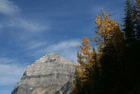 Stephen mt, aspens Amarillo y las montañas, la luz sobre las nubes del cielo azul Parque Nacional Yoho, Canadian Rockies Columbia Británica, Canadá Foto de archivo - 1142932