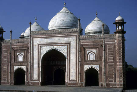 Mosque facing Taj Mahal,   Agra, India   Stock Photo