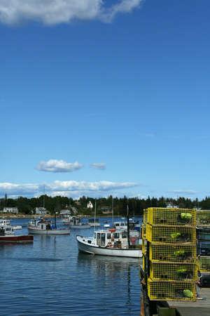 lobster boat: Lobster traps on wharfs Mount Desert Island, Acadia National Park, Bernard  Maine