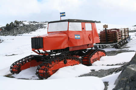 expeditions: Old polar tractor [ca 1950s], displayed as part of an outdoor museum. Argentine Base Esperanza,  Antarctica
