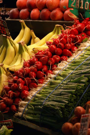 pike place: Scallions & radishes, fresh vegetable stalls, Pike Place Market Seattle Pacific Northwest