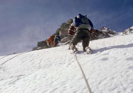 Climbers on steep snow face, Sunshine RouteMt. HoodSouth Cascades,Oregon Фото со стока - 1348855