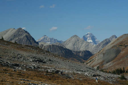 assiniboine: Burstall pass,hikers, Mt Assiniboine in background  Canmore, Banff, Alberta, Canada