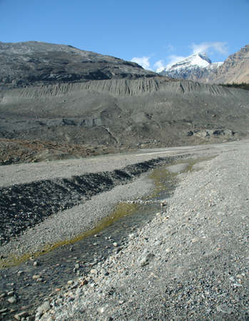 Lateral moraine, glacial till, Columbia icefields Canadian Rockies,Banff,Jasper, Alberta, Canada   Stock Photo