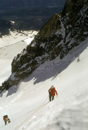 Climbers on steep snow, Sunshine Route Mt. Hood Cascades Pacific Northwest