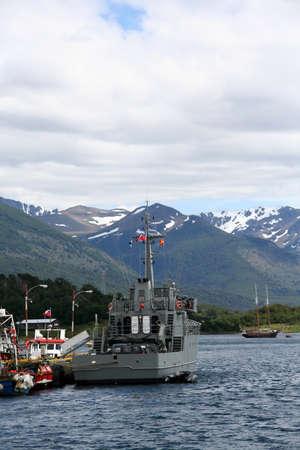 guard ship: Chilean coast guard ship in harbor,   Patagonia, Chile