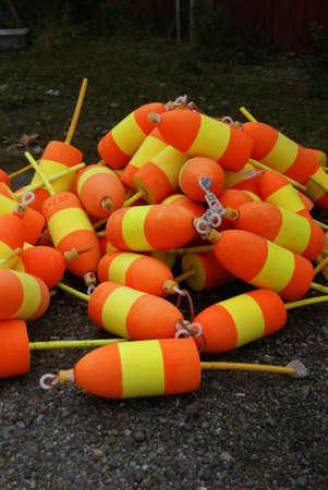 buoys: Lobster buoys, orange & yellow,   Mount Desert Island, Acadia National park, Maine, New England