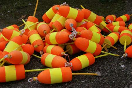 Lobster buoys, orange & yellow,   Mount Desert Island, Acadia National park, Maine, New England   photo