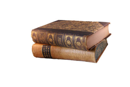 19th century books, out of copyright, leather bound.    Isolated on white