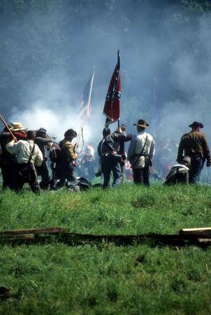 Confederates defend the flag, Civil War battle reenactment   Archivio Fotografico
