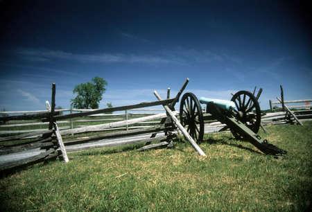 Napoleon artillery battery near the Angle, Civil War battlefield,Gettysburg National Battlefield Park,Pennsylvania