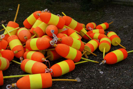 lobster boat: Lobster boat and buoys, orange & yellow,   Mount Desert Island, Acadia National park, Maine, New England