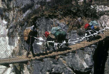 シェルパとヤク交差吊り橋を渡る、狭い渓谷アジア ネパール, クーンブ ・ ヒマール Pangboche 近く 写真素材